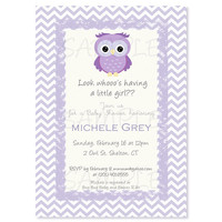 Lilac and grey owl Baby Shower invitation. Birthday Party or Bridal Shower. Owl printable invitation.