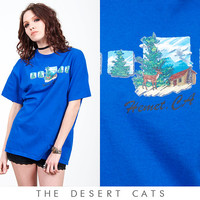 vintage 90s t-shirt vintage 1990s blue hemet california travel souvenir t-shirt vintage deer and woods screen printed t-shirt