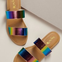 Rainbow Double Band Flat Slide Sandals