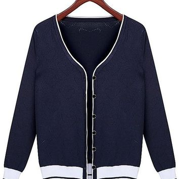 Blue Patchwork Single Breasted Knit Cardigan