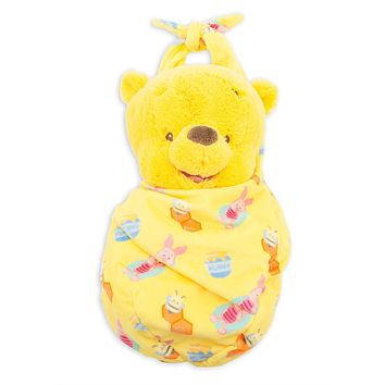 Disney Parks Baby Winnie the Pooh in a Blanket Pouch Plush New with Tags