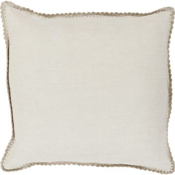 Elsa Linen Throw Pillow with Woven Border