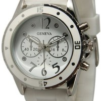 Women's Geneva New White Silicone Rubber Jelly with CZ Crystal Rhinestones Face Bling