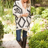 Geometric Patterned Cardigan - White