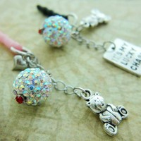 Rainbow Shine White Crystal Ball Cell Phone Anti Dust Plug or Keychain