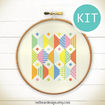Modern Geometric Cross Stitch KIT-Play with Trapezoids n Dots- Funny Modern Colorful Abstract triangle Minimalist home deco embroidery gift