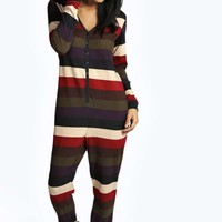 Cici Stripe Button Through Onesuit