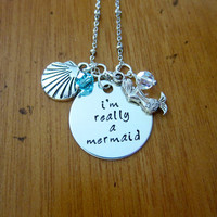 "Disney's ""Little Mermaid"" Inspired Necklace. I'm Really A Mermaid. Silver colored, Swarovski crystal, for women or girls. Hand stamped."