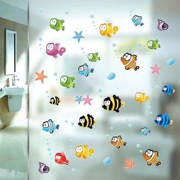 Underwater Fish Starfish Bubble Wall Sticker For Kids Rooms Cartoon Nursery Bathroom Children Room Home Decor Wall Decals