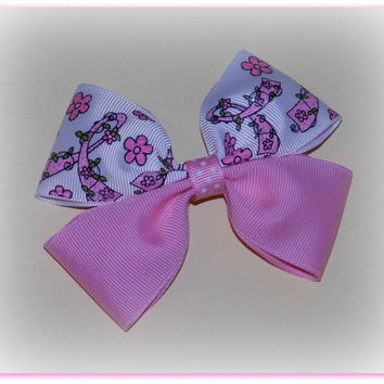 Boutique Hair Bow ~ Pink and White ~ Chevron ~ Pony Tail Bow ~ Breast Cancer Bow ~ Pink Ribbon Bow