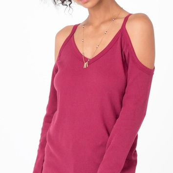 "Z Supply "" The L/S Cold Shoulder Tee"" - Dark Ruby"
