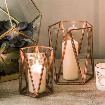 Copper Triangular Tea Light Holder