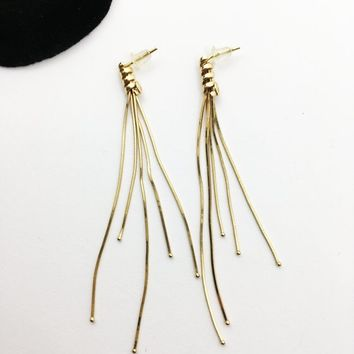 14K Gold Dangle Drop Earrings 14 Karat Gold Wrap Tassel Studs Serpentine Chain Strands Push Back Waterfall Like Dangling Tassels Gold Balls
