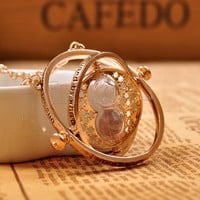 Harry potter necklace time turner golden spins harry potter chain 18k TimeTurner Hermione Granger Hourglass Pendant Jewelry movie
