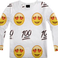 White/Emoji Long-Sleeve Shirt created by trilogy-anonymous | Print All Over Me