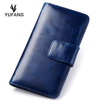 YUFANG Women Wallet Oil Wax Genuine Leather Ladies Phone Bag Large Capacity Sixteen Card Spcae Women Purse Business Card Holder