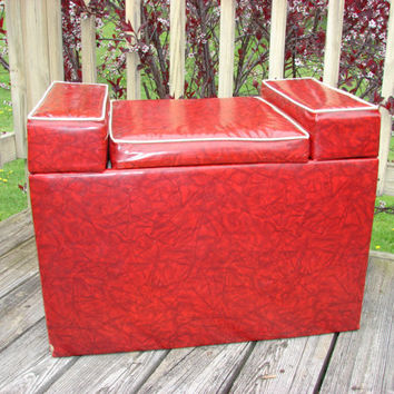 Red Naugahyde Vinyl Storage Box 1960s Toy Chest Vanity Bench Shawnee