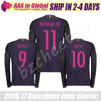 Neymar long sleeve Soccer jersey 2017 purple home away INIESTA SUAREZ MESSI long sleeve Jersey thai quality Man football long shirt