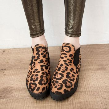 VLX2WL Leopard Vintage Round-toe Thick Crust Ankle Dr Martens Shoes Boots [9432940810]