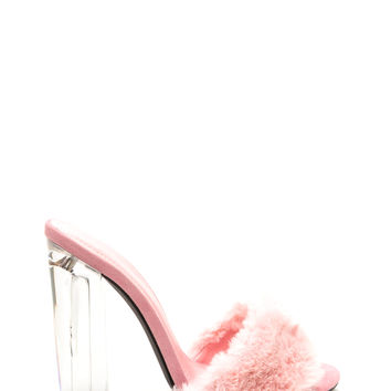 Clear Head Faux Fur Chunky Heels