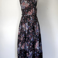Vintage 80s Floral Cotton Twill Laura Ashley Dress
