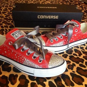 Full Rhinestone Converse with Ombr¨¦ Sides and Ribbon Shoelaces