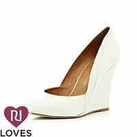 White contrast snake panel pointed wedges - shoes / boots - sale - women