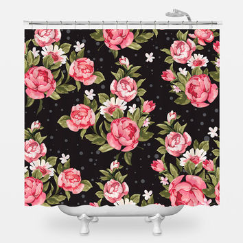 Roses on Black Shower Curtain
