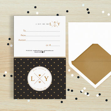 Glitter polka double sided gift certificate template - Instant download