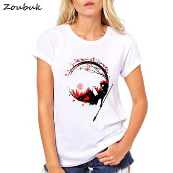 Deer god princess mononoke of the Forest Design T shirt women 2018 New Fashion Fantastic harajuku female tshirts Summer Tops Tee