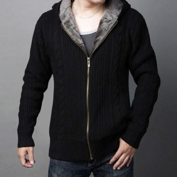 Mens Hooded Cardigan with Inner Layered in Black