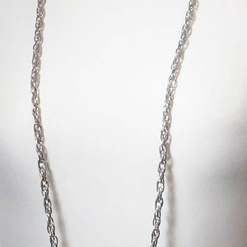 """Flapper Length Silver Tone Chain Necklace, Silver Rope Chain, Antiqued Silver, Extra Long Necklace, Layering Chain Necklace, 52"""","""