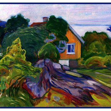 House by the Fjord by Symbolist Artist Edvard Munch Counted Cross Stitch or Counted Needlepoint Pattern