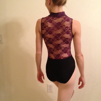 lace back zipper front leotard - sexy
