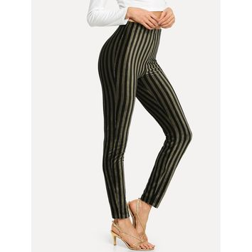 High Waist Vertical Stripe Leggings