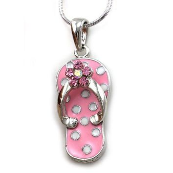 Pink Sandal Flip Flop Polka Dot Necklace