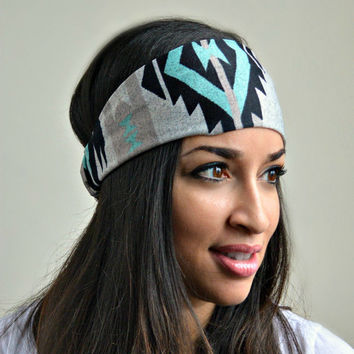 Mint Tribal Headband, Aztec hippie Head Band