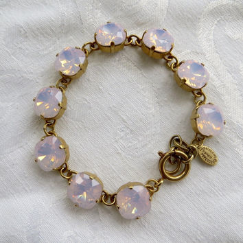 Catherine Popesco Crystal Bracelet, Matte Gold, Faceted Pink Swarovski Crystal Stones, Made in France