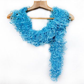 Turquoise lace hand knit ruffle scarf by Mashacrochet