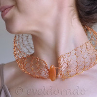 Necklace Collar - hemispherical pure copper handknit lace with fire agate gemstone - Modern Soul