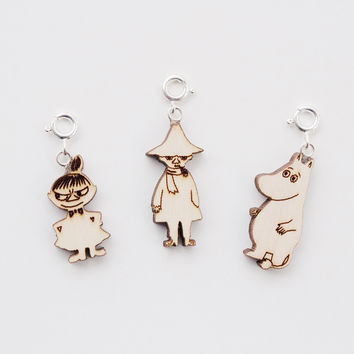 Moomin Wooden Charms, set of 3 by Showroom Finland