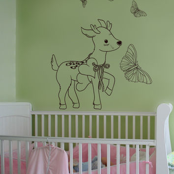 Vinyl Wall Decal Sticker Fawn And Butterflies #1524