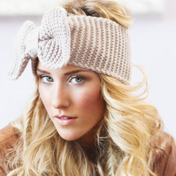 New Women Crochet Headband Bow Knit Winter Headwrap Ear Warmer hairband Hot _trq = 1946861892