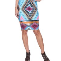 Medallion Print Victoria Pencil Skirt