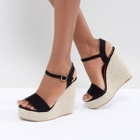 Glamorous Black Espadrille Wedge Sandals at asos.com