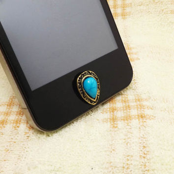 Retro Drop Shape Gem Alloy Home Button Sticker for iPhone 3,4,4s,5,ipad 2,3,4,iPod Touch 2,3,4,5