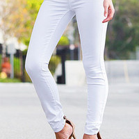 WHITE HYPERSTRETCH SKINNY JEANS