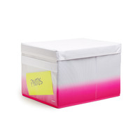 White + Pink Fabric Collapsible Storage Box