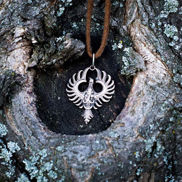 Small Phoenix Pendant Amulet Sterling Silver Necklace Scandinavian Norse Jewelry