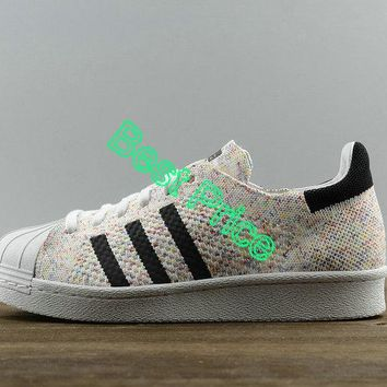 2018 Cheapest Unisex Adidas Original Superstar 80s PrimeKnit White Black S75845 new sneaker